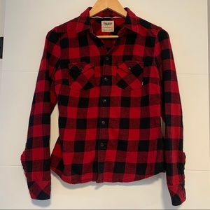 TNA | Black & Red Plaid Button Up